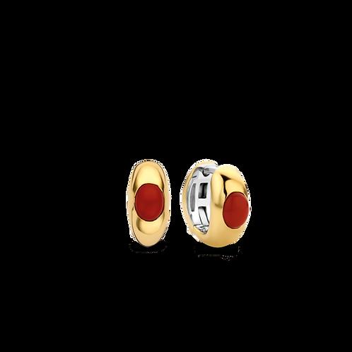 Ti Sento Coral Red Hoop Earrings