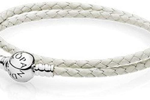 Ivory White Double Woven Leather Bracelet