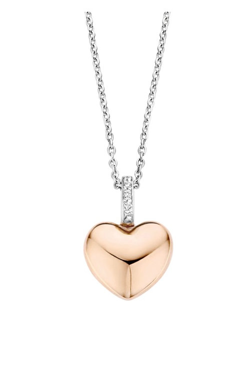 Ti Sento Rose Plated Heart Necklace