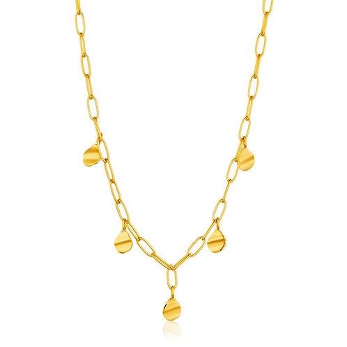 Gold Crush Drop Discs Necklace