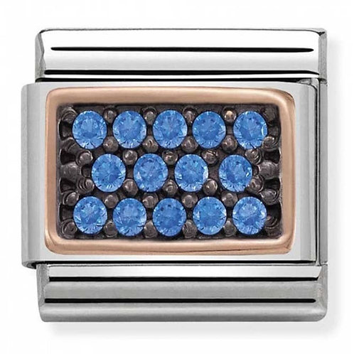 Nomination Rose Gold and Blue CZ Rectangle