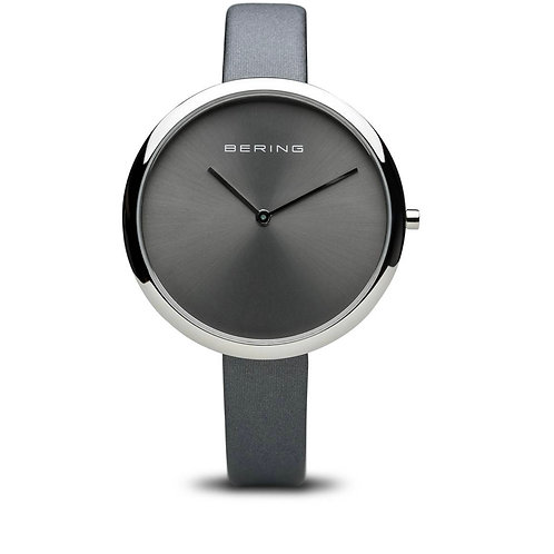 Bering Classic Polished Silver Grey Satin Leather Strap Watch