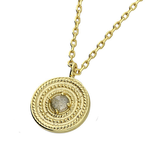 Sterling Silver Yellow Gold Plated Labradorite Vintage Disc Necklace