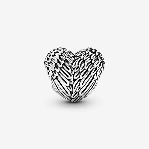Angel Feathers Heart Charm