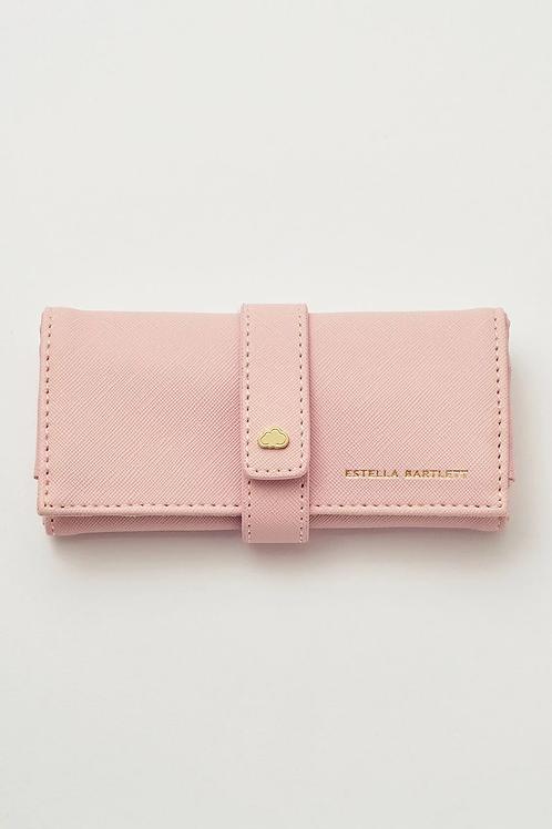 Estella Bartlett Faux Leather Jewellery Roll - Blush Pink