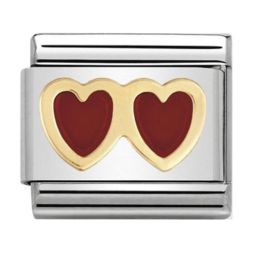 Nomination Gold & Red Enamel Double Heart