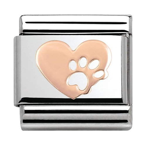 Nomination Rose Gold Paw Print Heart