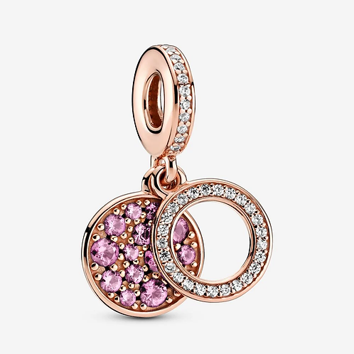 Rose Sparkling Pink Disc Double Dangle Charm