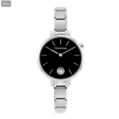 Nomination Paris Classic Stainless Steel & Round Black CZ Dial Watch