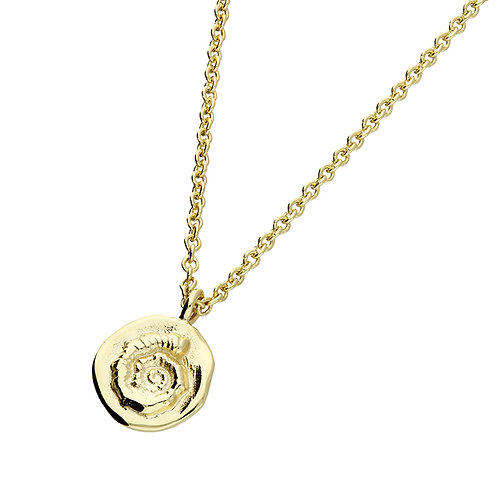 Sterling Silver Yellow Gold Plated Textured Spiral Necklace