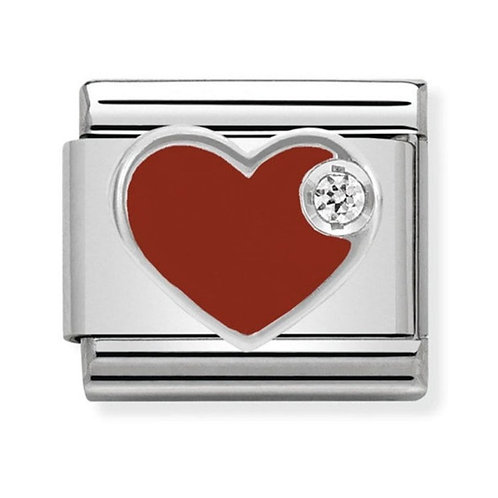 Nomination Silver Red Heart with CZ