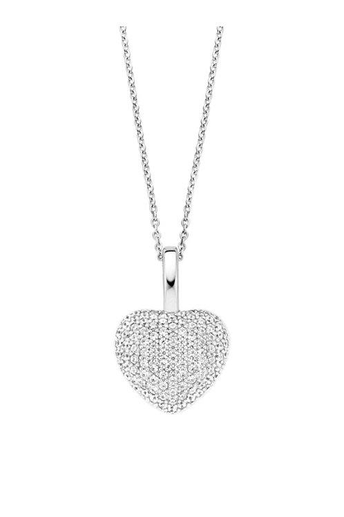 Ti Sento Silver CZ Heart Necklace