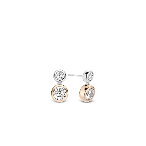 Ti Sento Rose Gold-Plated CZ Earrings