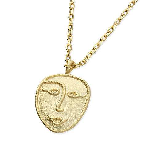 Sterling Silver Yellow Gold Plated Face Necklace