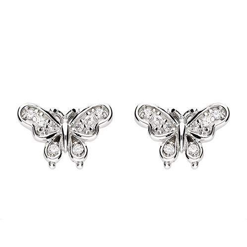 Sterling Silver CZ Butterfly Stud Earring
