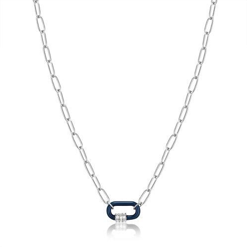 Navy Blue Enamel Carabiner Silver Necklace