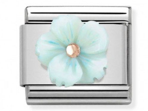 Nomination Rose Gold & Turquoise Mother of Pearl Flower