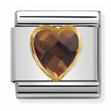 Nomination Gold Heart Shaped Smokey CZ