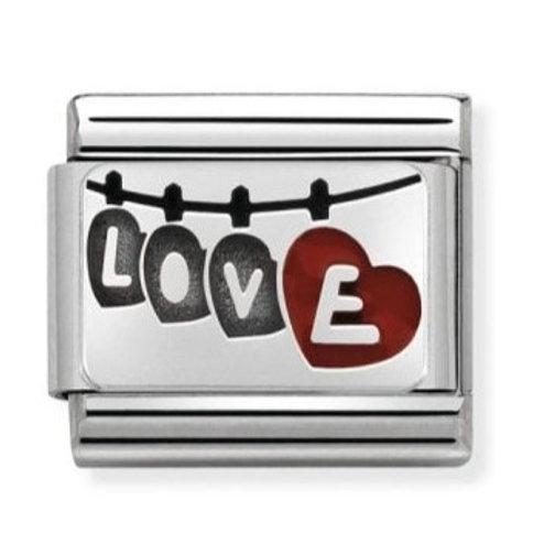 Nomination Silver Red Enamel Love Washing Line