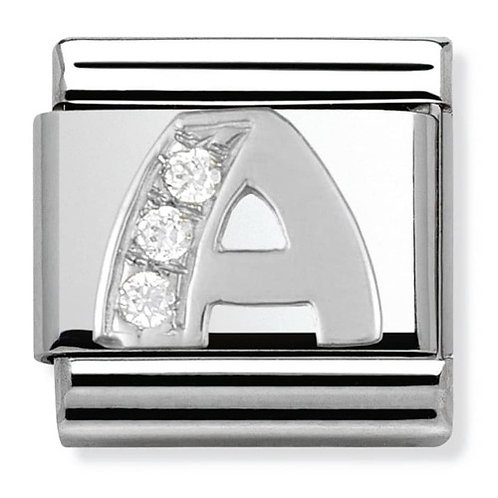 Nomination Silver CZ Letters A-M