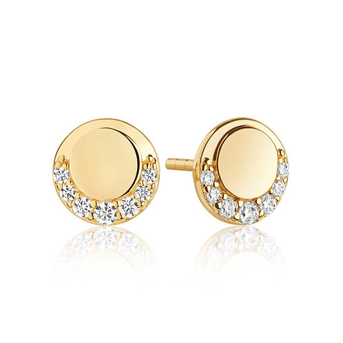 Cubic Zirconia Gold-Plated Disc Stud Earrings