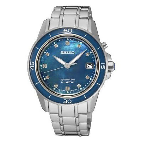 Sportura Blue Mother of Pearl & Silver Stainless Steel Kinetic Watch