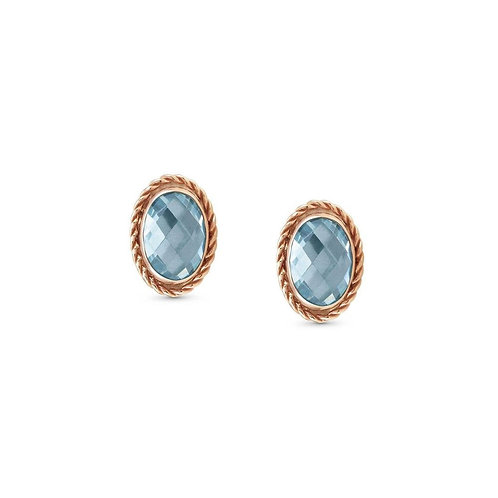 Nomination Silver & Rose Gold Plated Light Blue Cubic Zirconia Faceted Oval S