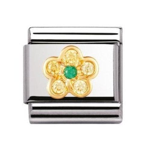 Nomination Gold White Yellow & Green Flower