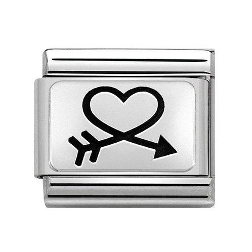 Nomination Silver Arrow Around Heart