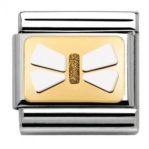 Gold and Enamel Bow Tie White with Gold Centre