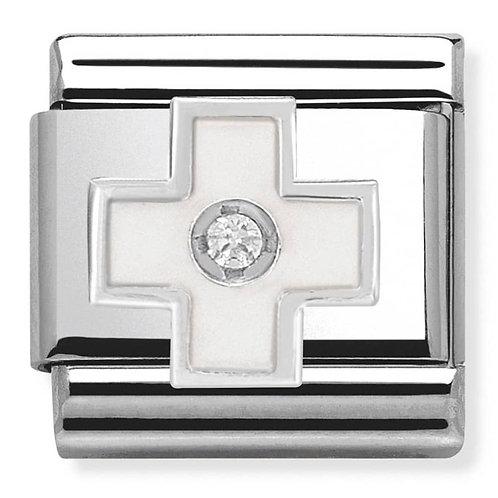 Nomination Silver White Enamel Cross