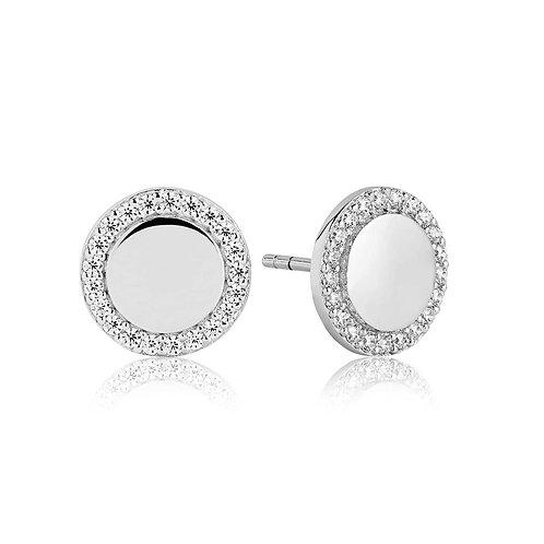 Cubic Zirconia Circle Stud Earrings