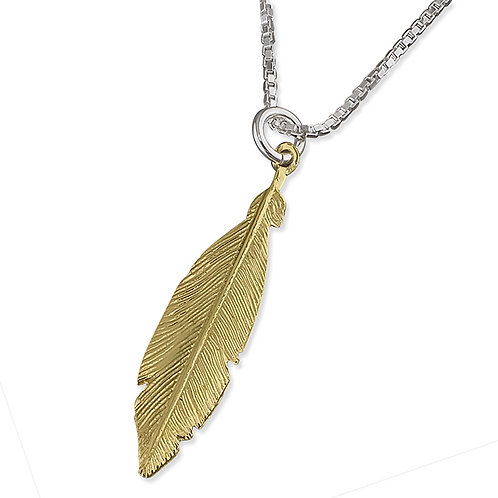 Sterling Silver Yellow Gold Plated Feather Necklace