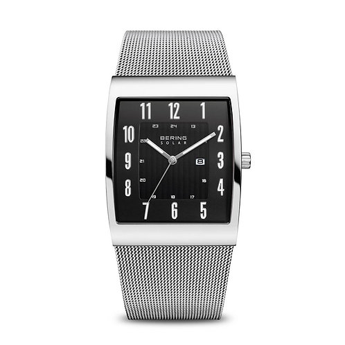 Bering Men's Solar Polish Silver Mesh Watch