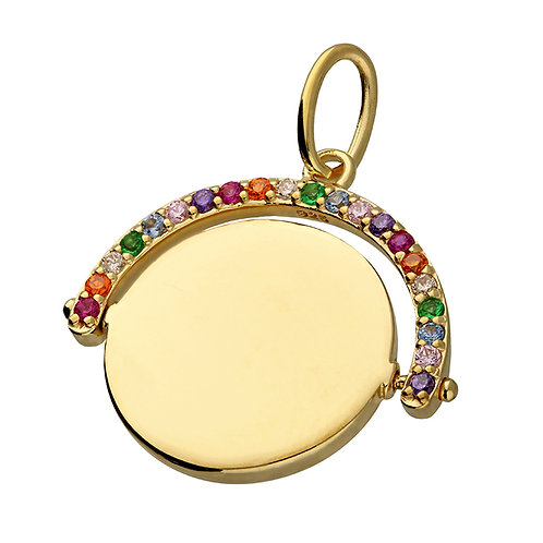 Sterling Silver Yellow Gold-Plated Cubic Zirconia Rainbow Spinner