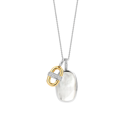 Ti Sento Iced White Pendant with Gold-Plated Link Necklace