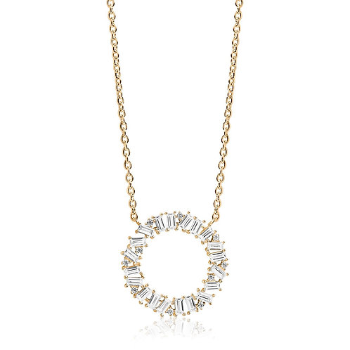 Baguette Cubic Zirconia Gold-Plated Halo Necklace