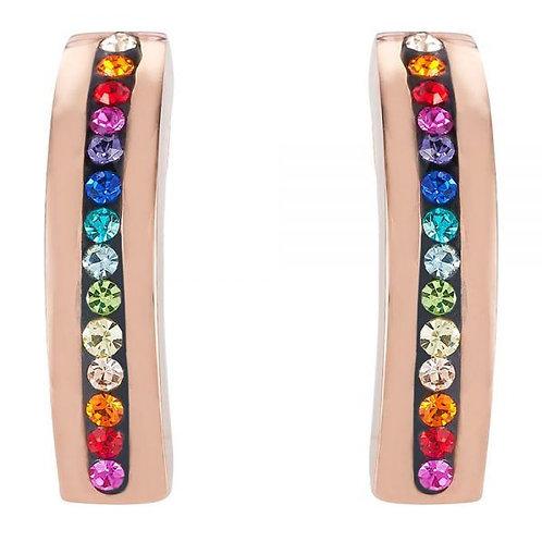 Coeur de Lion Multi Colour Pave Crystal Drop Stud Earrings
