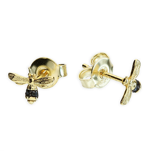 Sterling Silver Gold-Plated Mini Bee Stud Earrings