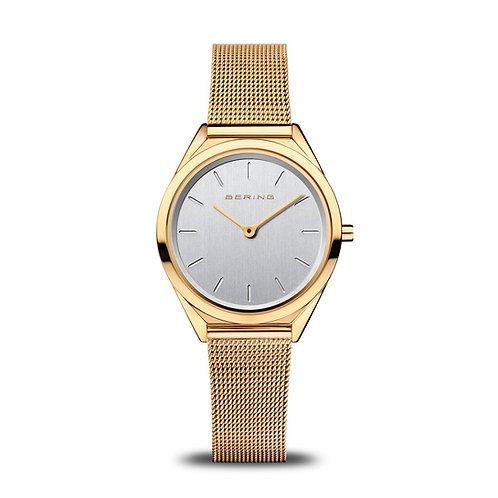 Bering Ultra Slim Polished Gold Mesh Watch
