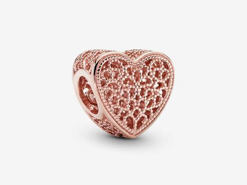 Rose Filigree & Beaded Heart Charm