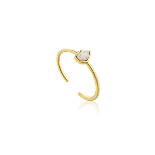 Opal Colour Adjustable Gold Ring
