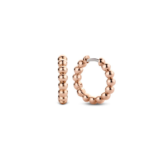 Ti Sento Rose Gold Plated Beaded Hoops