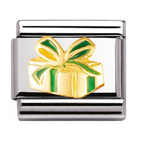 Nomination Gold and Enamel Green Christmas Present