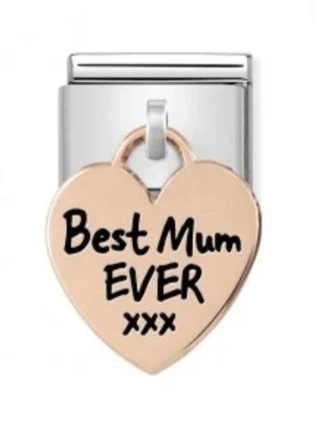 Nomination Rose Gold Best Mum Ever Heart Drop