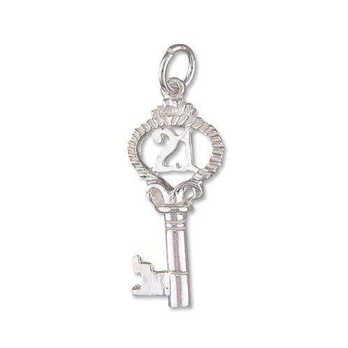 Sterling Silver 21st Key Charm