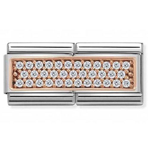Nomination Double Rose Gold and White CZ Pavé