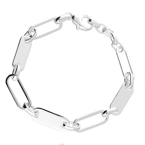 Sterling Silver Alternate Solid Link 18cm Bracelet