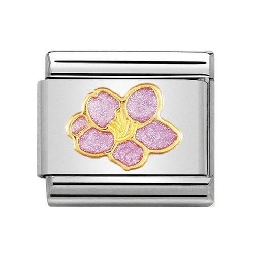 Nomination Gold Pink Hibiscus Flower