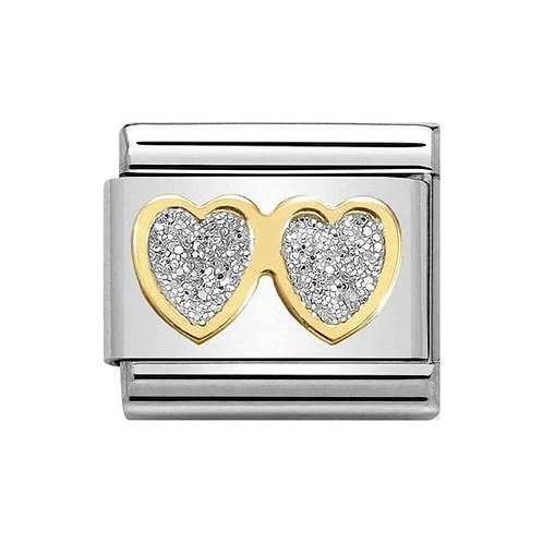 Nomination Gold Glitter Double Heart